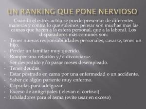 Antiestres Un ranking que pone nervioso