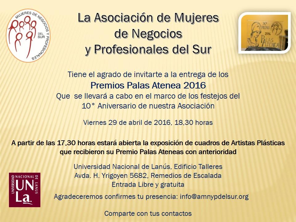 Premios Palas atenea 2016 invitacion expo